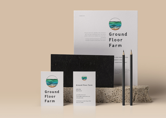 An image of the 'Ground Floor Farm' stationery. Designed and illustrated by Marga Doek