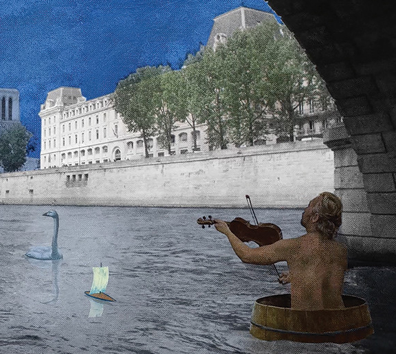 The Blue Painter, a short animated film, featuring Finnish painter, Risto Suomi. Directed and animated by Marga Doek. Suomi floating on the river Seine.